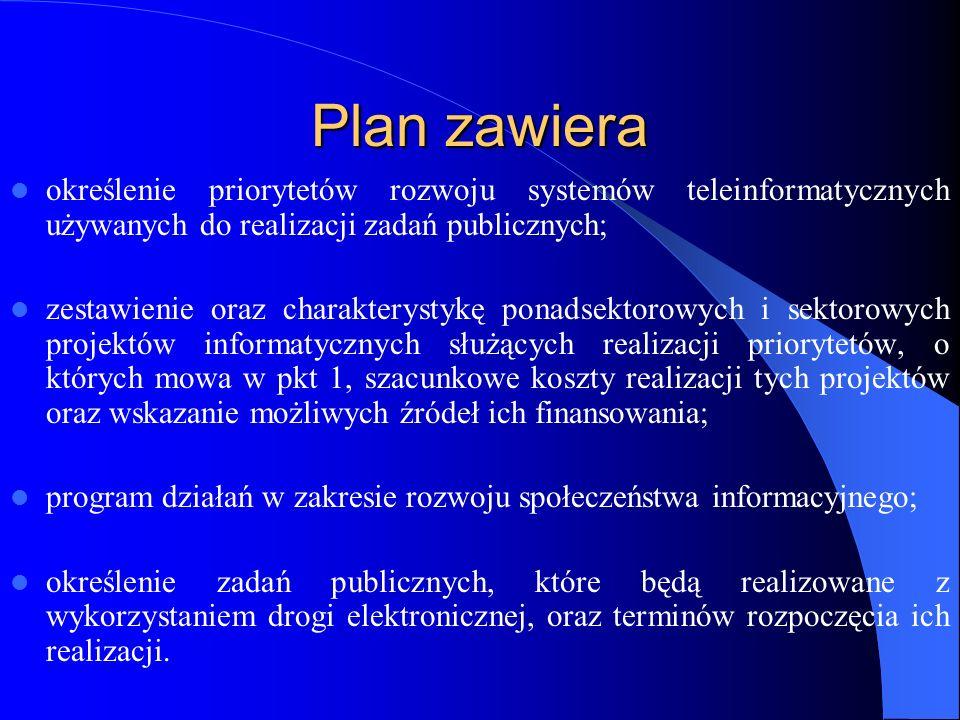 Plan zawiera określenie priorytetów rozwoju systemów teleinformatycznych używanych do realizacji zadań publicznych; zestawienie oraz charakterystykę p