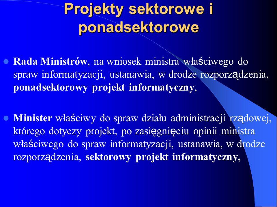 Projekty sektorowe i ponadsektorowe Rada Ministrów, na wniosek ministra wła ś ciwego do spraw informatyzacji, ustanawia, w drodze rozporz ą dzenia, po