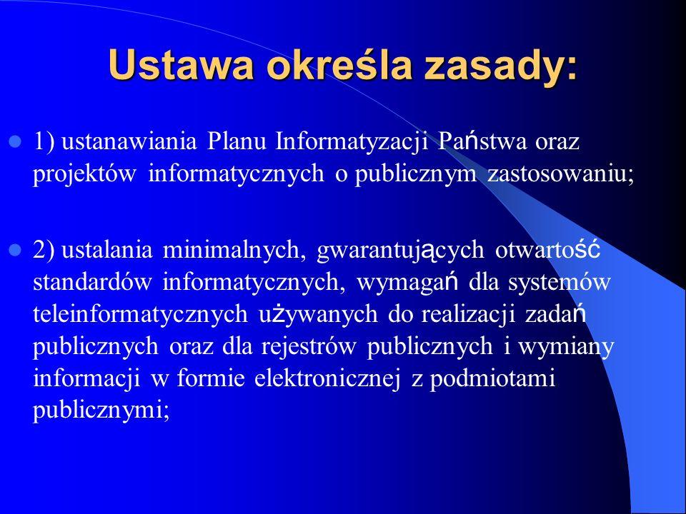 Ustawa określa zasady: 1) ustanawiania Planu Informatyzacji Pa ń stwa oraz projektów informatycznych o publicznym zastosowaniu; 2) ustalania minimalny