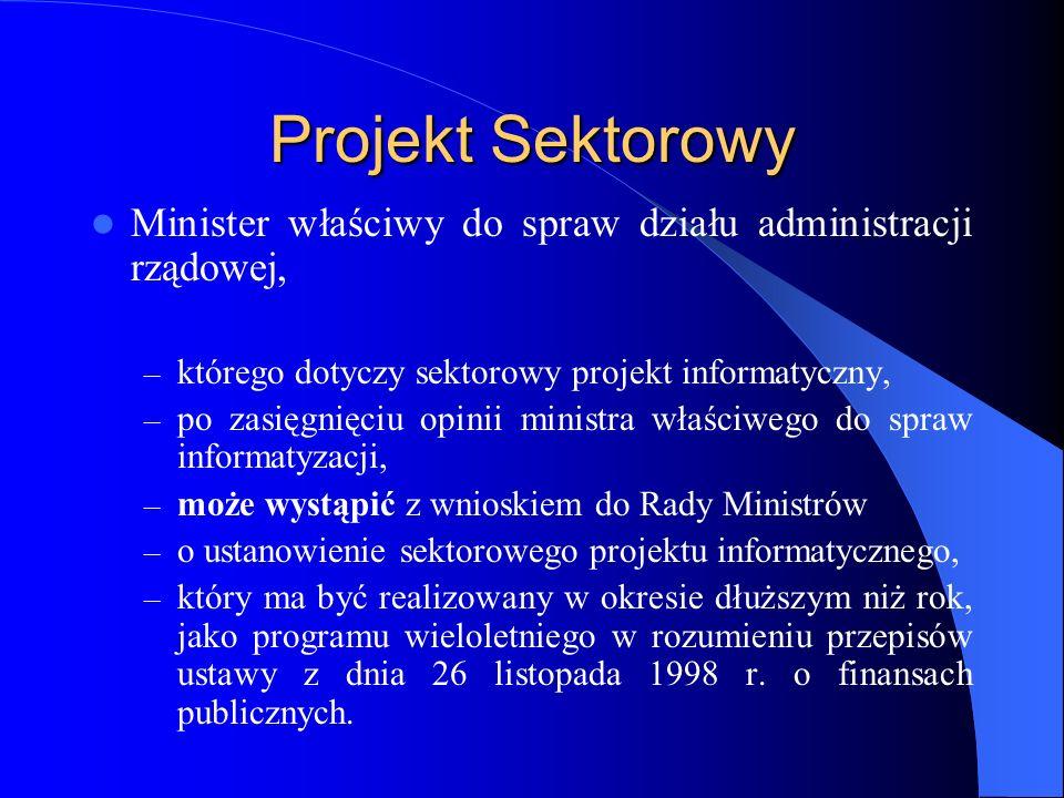 Projekt Sektorowy Minister właściwy do spraw działu administracji rządowej, – którego dotyczy sektorowy projekt informatyczny, – po zasięgnięciu opini