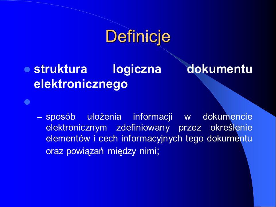Definicje struktura logiczna dokumentu elektronicznego – sposób ułożenia informacji w dokumencie elektronicznym zdefiniowany przez określenie elementó
