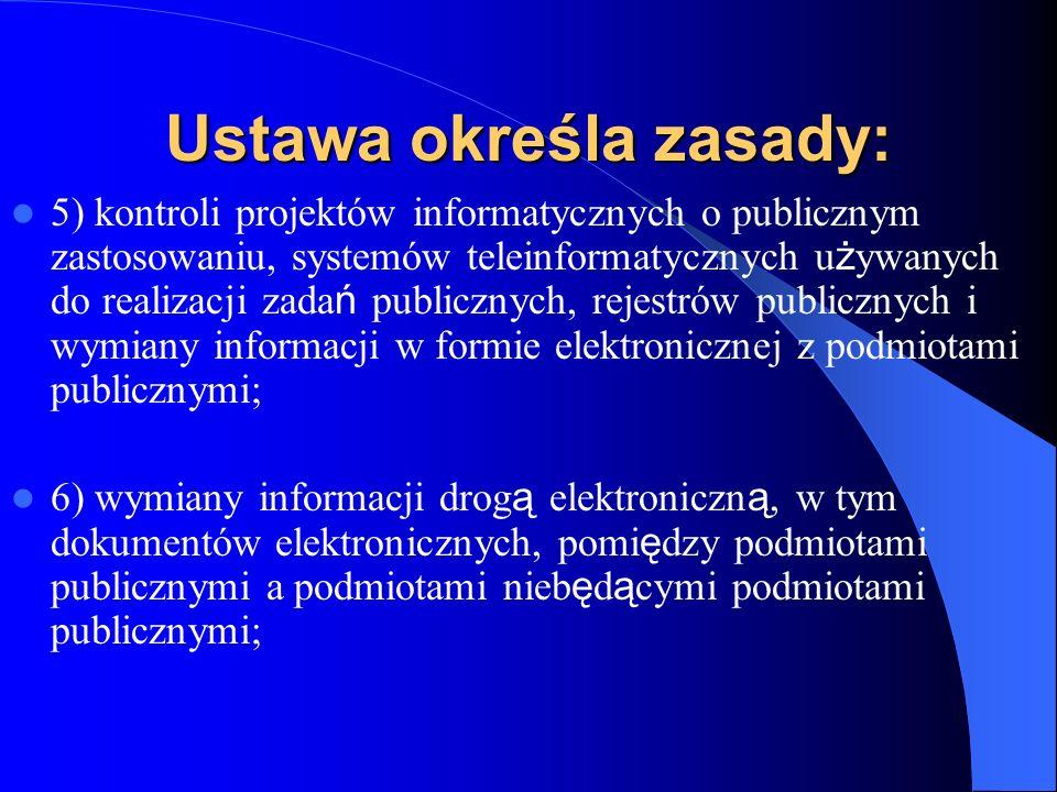 Ustawa określa zasady: 5) kontroli projektów informatycznych o publicznym zastosowaniu, systemów teleinformatycznych u ż ywanych do realizacji zada ń
