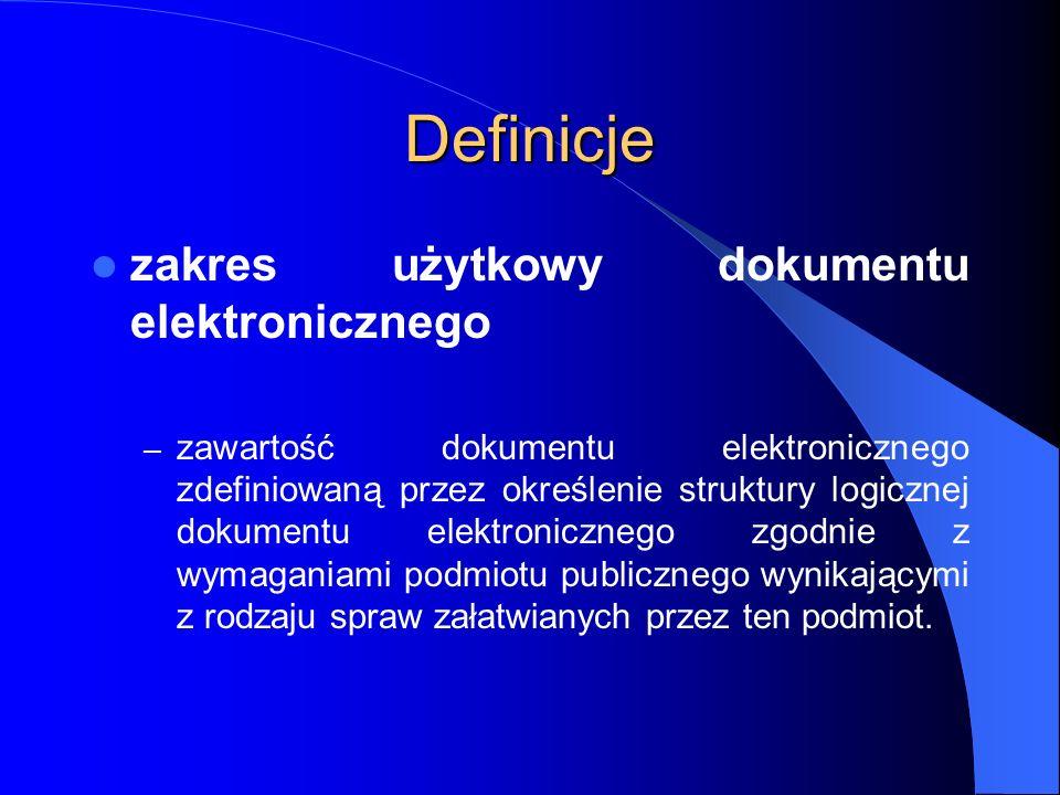 Definicje zakres użytkowy dokumentu elektronicznego – zawartość dokumentu elektronicznego zdefiniowaną przez określenie struktury logicznej dokumentu