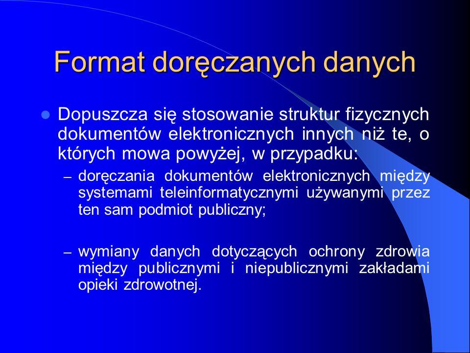 Format doręczanych danych Dopuszcza się stosowanie struktur fizycznych dokumentów elektronicznych innych niż te, o których mowa powyżej, w przypadku: