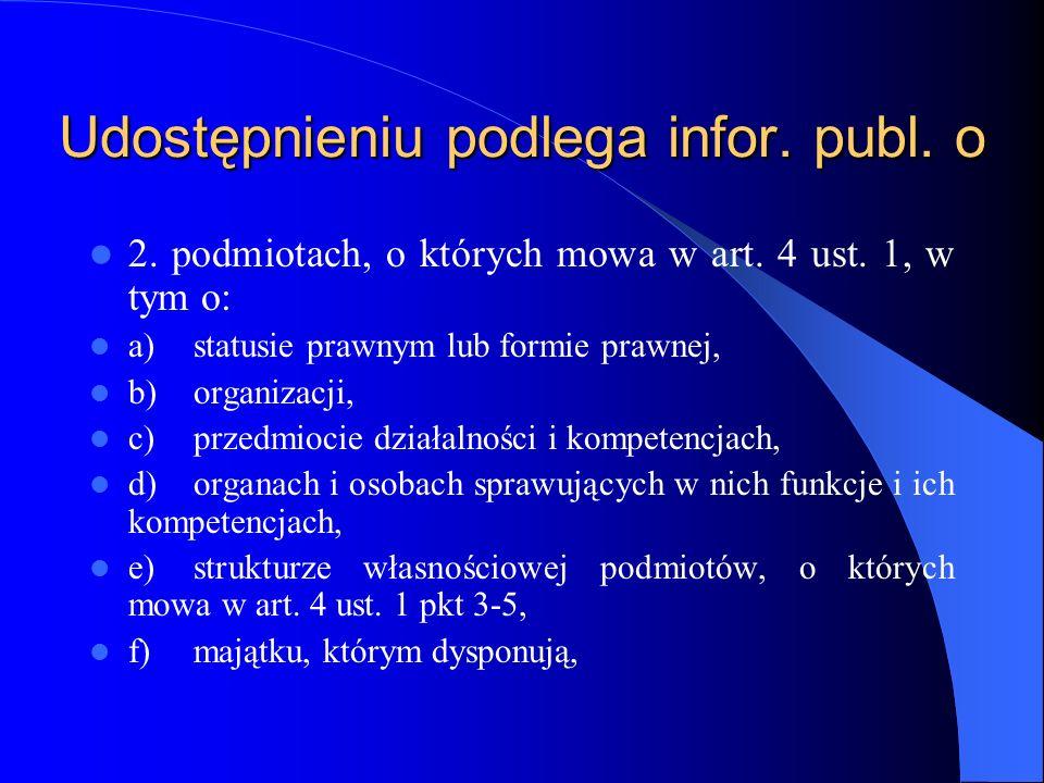Udostępnieniu podlega infor. publ. o 2. podmiotach, o których mowa w art. 4 ust. 1, w tym o: a)statusie prawnym lub formie prawnej, b)organizacji, c)p