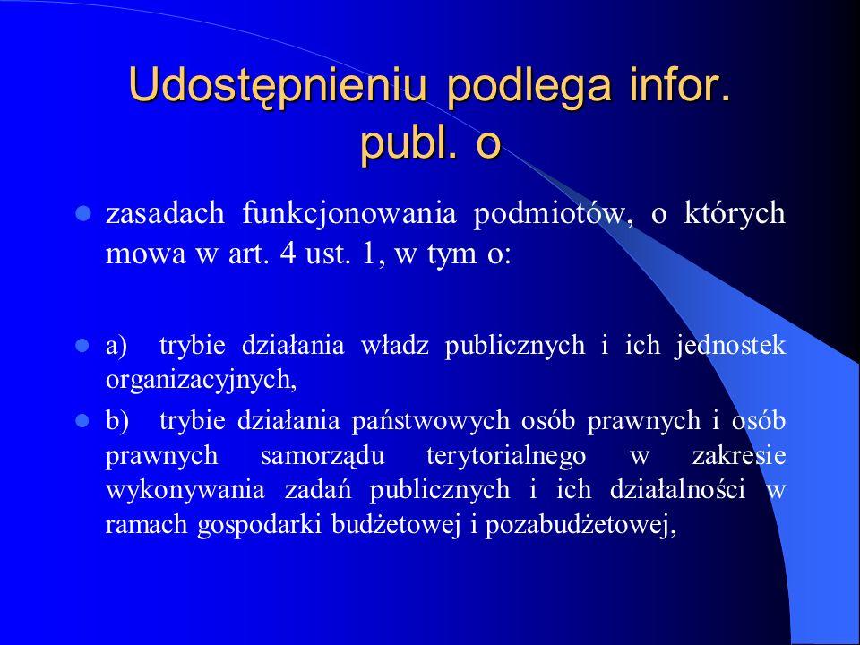 Udostępnieniu podlega infor. publ. o zasadach funkcjonowania podmiotów, o których mowa w art. 4 ust. 1, w tym o: a)trybie działania władz publicznych