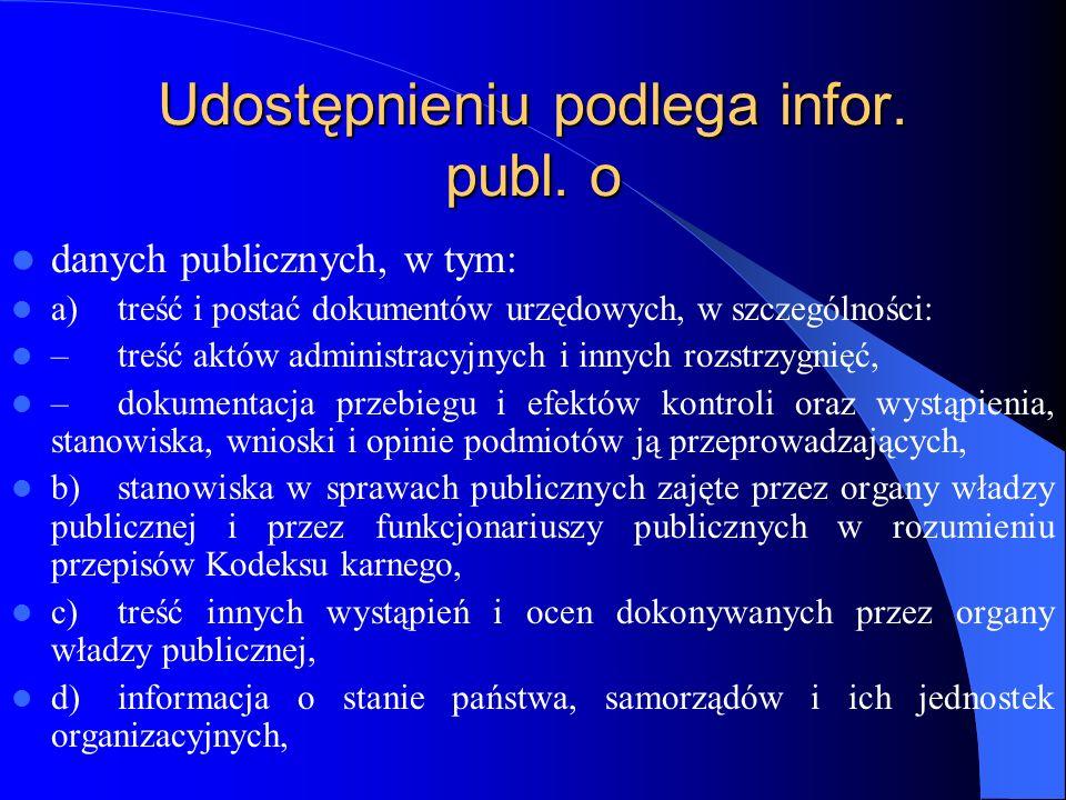 Udostępnieniu podlega infor. publ. o danych publicznych, w tym: a)treść i postać dokumentów urzędowych, w szczególności: –treść aktów administracyjnyc