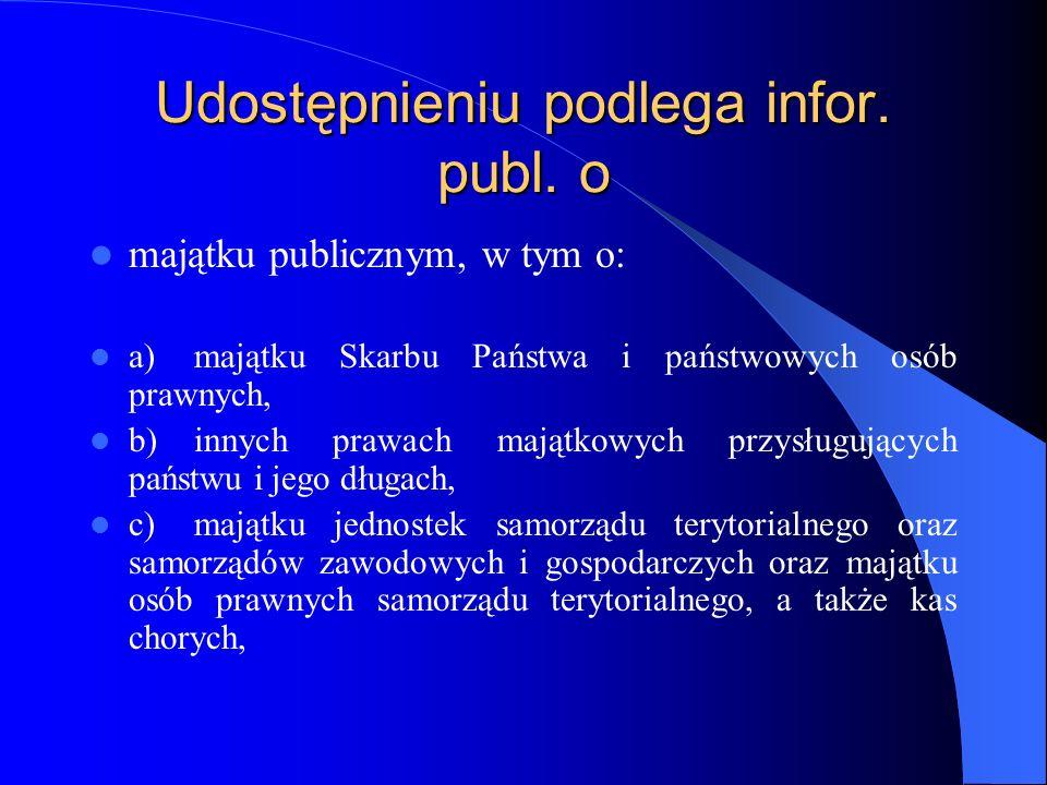 Udostępnieniu podlega infor. publ. o majątku publicznym, w tym o: a)majątku Skarbu Państwa i państwowych osób prawnych, b)innych prawach majątkowych p
