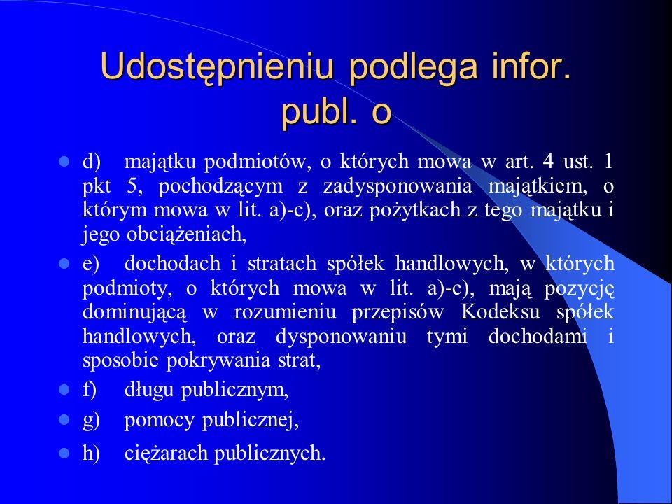 Udostępnieniu podlega infor. publ. o d)majątku podmiotów, o których mowa w art. 4 ust. 1 pkt 5, pochodzącym z zadysponowania majątkiem, o którym mowa
