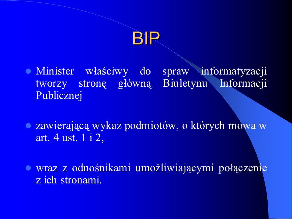 BIP Minister właściwy do spraw informatyzacji tworzy stronę główną Biuletynu Informacji Publicznej zawierającą wykaz podmiotów, o których mowa w art.