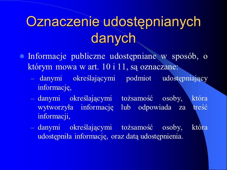 Oznaczenie udostępnianych danych Informacje publiczne udostępniane w sposób, o którym mowa w art. 10 i 11, są oznaczane: – danymi określającymi podmio