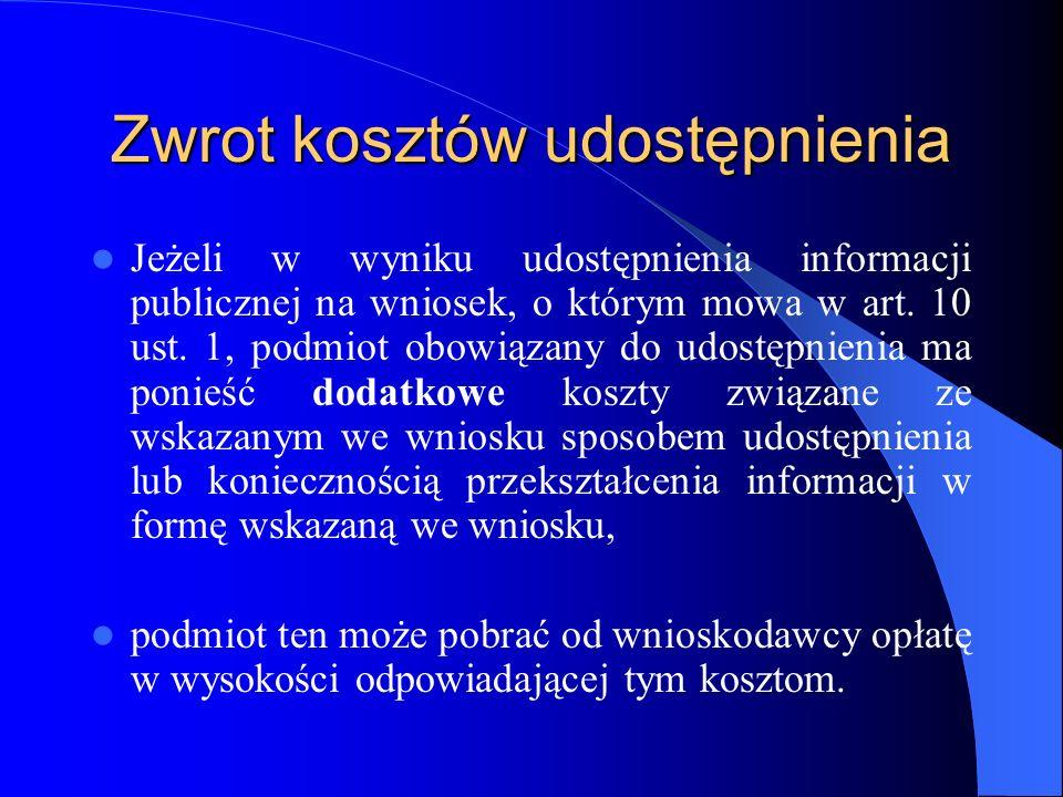 Zwrot kosztów udostępnienia Jeżeli w wyniku udostępnienia informacji publicznej na wniosek, o którym mowa w art. 10 ust. 1, podmiot obowiązany do udos
