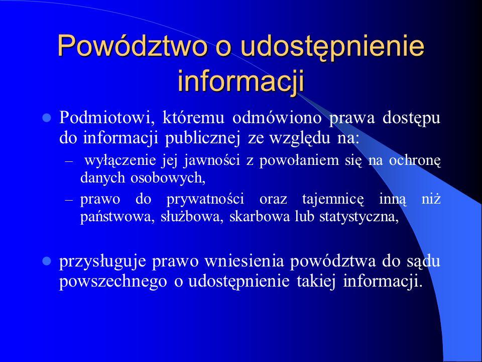 Powództwo o udostępnienie informacji Podmiotowi, któremu odmówiono prawa dostępu do informacji publicznej ze względu na: – wyłączenie jej jawności z p