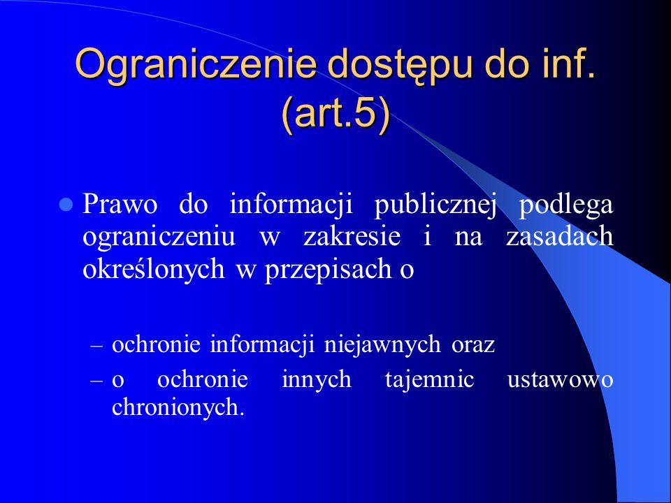 Ograniczenie dostępu do inf. (art.5) Prawo do informacji publicznej podlega ograniczeniu w zakresie i na zasadach określonych w przepisach o – ochroni