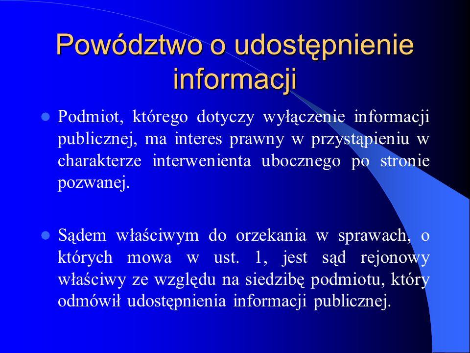 Powództwo o udostępnienie informacji Podmiot, którego dotyczy wyłączenie informacji publicznej, ma interes prawny w przystąpieniu w charakterze interw
