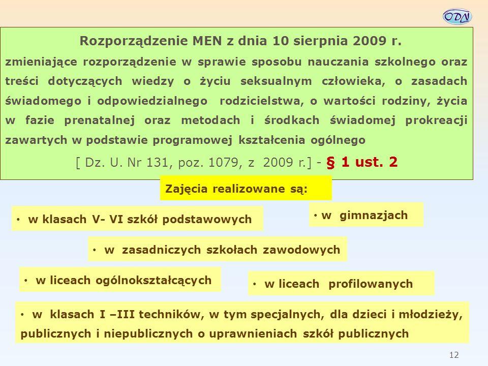 13 Rozporządzenie MEN z dnia 10 sierpnia 2009 r.