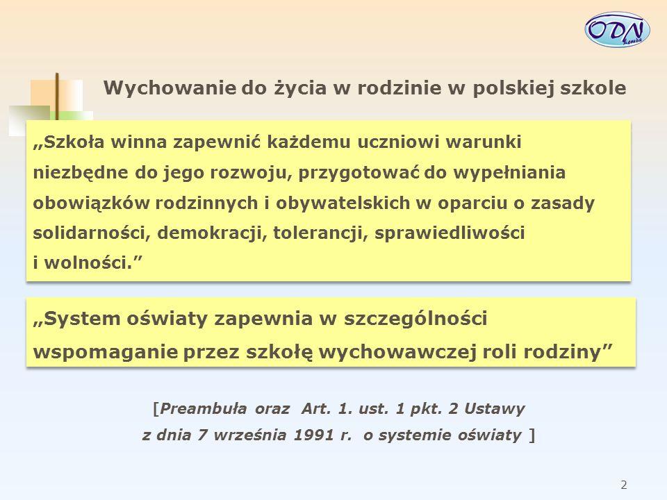 3 Wychowanie do życia w rodzinie w polskiej szkole Polska – jak wskazują rankingi i badania – to kraj, gdzie wartość rodziny nadal jest wysoko ceniona, a dla młodzieży udane życie małżeńskie jest jednym z warunków osiągania szczęścia.