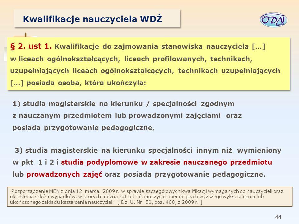 45 Kwalifikacje nauczyciela WDŻ § 3.ust 1.