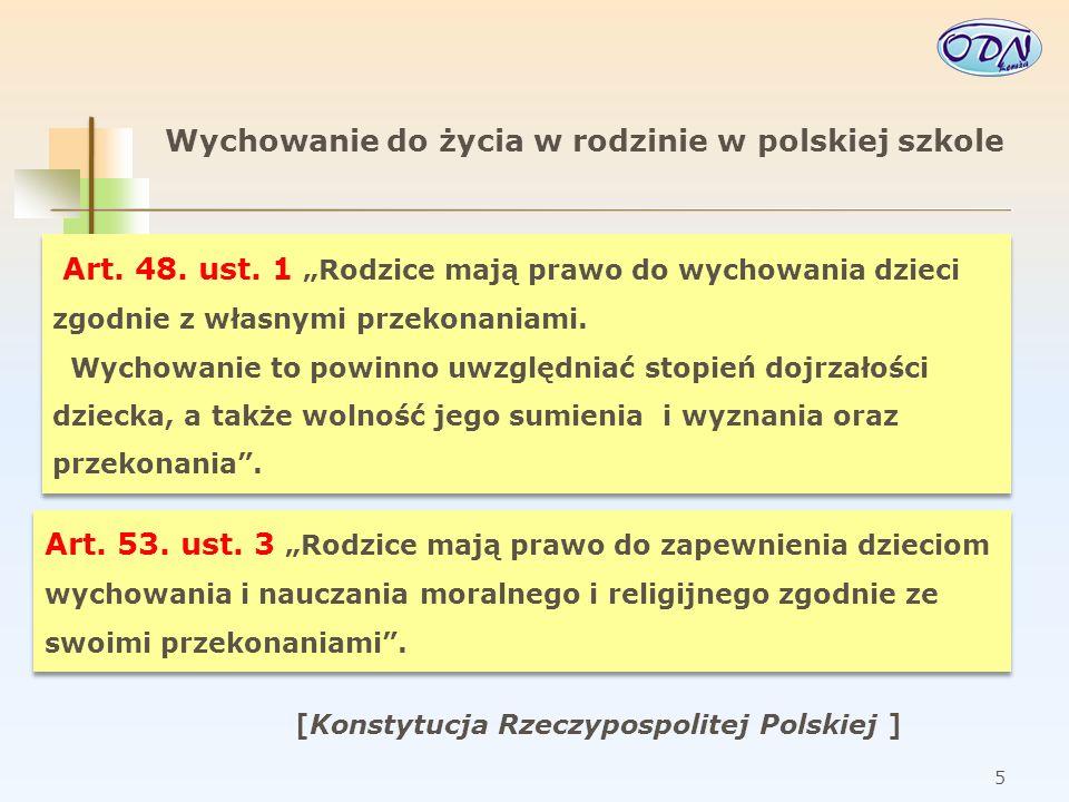 6 Wychowanie do życia w rodzinie w polskiej szkole Art.