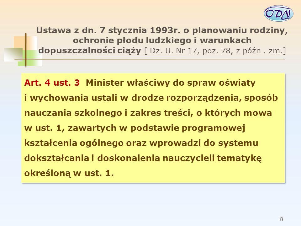 9 Wychowanie do życia w rodzinie w polskiej szkole W podstawie programowej z dnia 23 grudnia 2008 r.