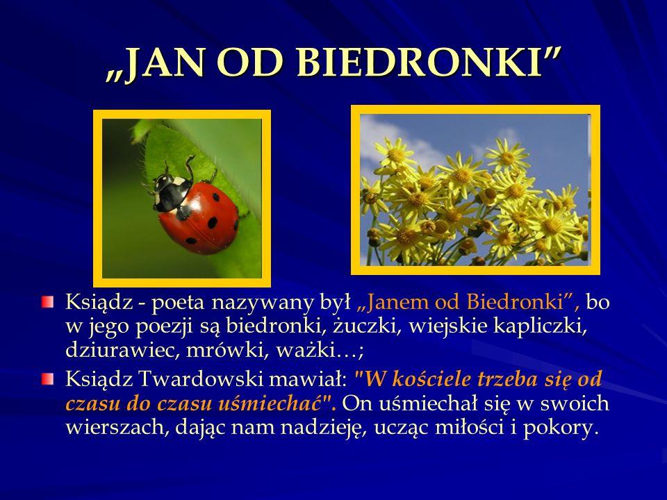 JAN OD BIEDRONKI Ksiądz - poeta nazywany był Janem od Biedronki, bo w jego poezji są biedronki, żuczki, wiejskie kapliczki, dziurawiec, mrówki, ważki…