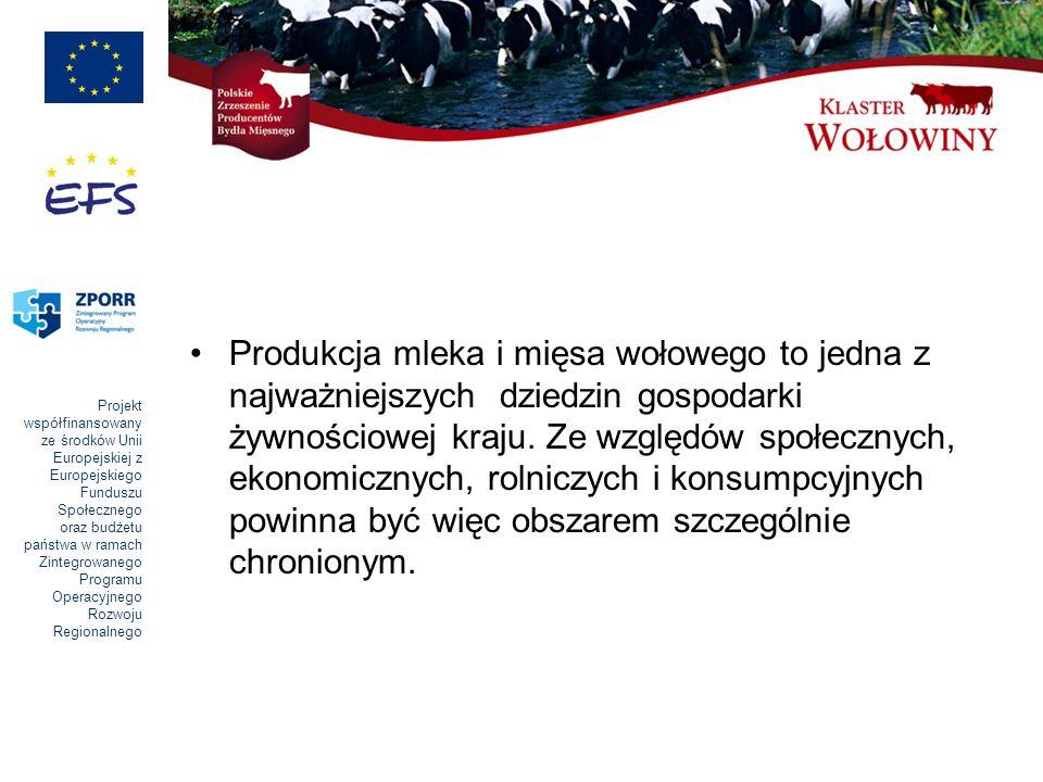 Projekt współfinansowany ze środków Unii Europejskiej z Europejskiego Funduszu Społecznego oraz budżetu państwa w ramach Zintegrowanego Programu Operacyjnego Rozwoju Regionalnego Rozwój sektora mięsa wołowego w Polsce w granicach określonych limitami do uzyskania premii kompensacyjnych może spowodować zwiększenie, w ciągu 8 - 10 lat, produkcji żywca wołowego do poziomu 0,8 – 1,0 mln ton, pod warunkiem: -kompensowania skutków spadku pogłowia krów mlecznych odpowiednim zwiększeniem -liczebności stada krów mamek z około 45 tys.