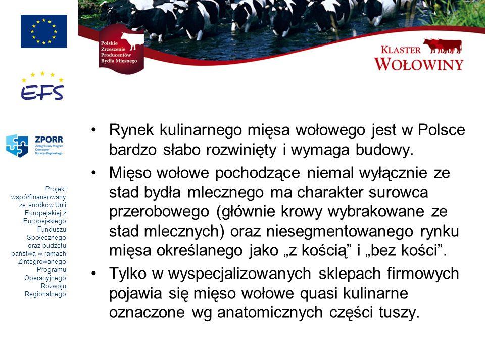 Projekt współfinansowany ze środków Unii Europejskiej z Europejskiego Funduszu Społecznego oraz budżetu państwa w ramach Zintegrowanego Programu Operacyjnego Rozwoju Regionalnego Rynek kulinarnego mięsa wołowego jest w Polsce bardzo słabo rozwinięty i wymaga budowy.