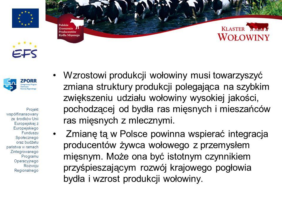 Projekt współfinansowany ze środków Unii Europejskiej z Europejskiego Funduszu Społecznego oraz budżetu państwa w ramach Zintegrowanego Programu Operacyjnego Rozwoju Regionalnego Wzrostowi produkcji wołowiny musi towarzyszyć zmiana struktury produkcji polegająca na szybkim zwiększeniu udziału wołowiny wysokiej jakości, pochodzącej od bydła ras mięsnych i mieszańców ras mięsnych z mlecznymi.
