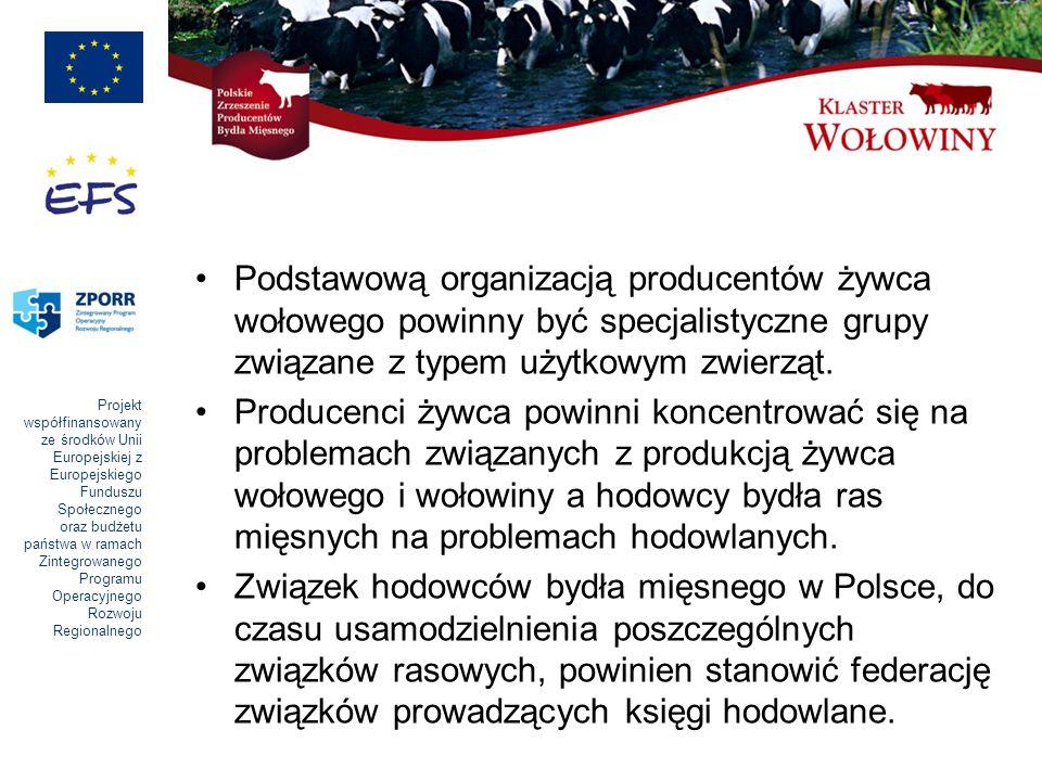 Projekt współfinansowany ze środków Unii Europejskiej z Europejskiego Funduszu Społecznego oraz budżetu państwa w ramach Zintegrowanego Programu Operacyjnego Rozwoju Regionalnego Podstawową organizacją producentów żywca wołowego powinny być specjalistyczne grupy związane z typem użytkowym zwierząt.