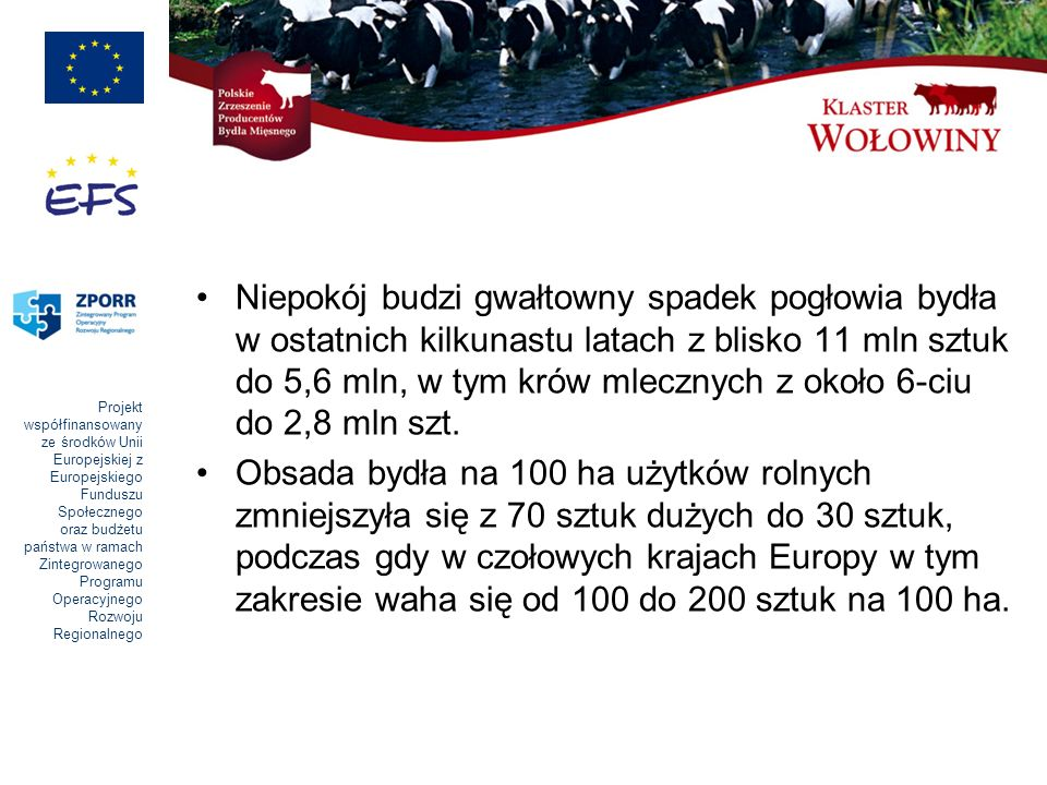 Projekt współfinansowany ze środków Unii Europejskiej z Europejskiego Funduszu Społecznego oraz budżetu państwa w ramach Zintegrowanego Programu Operacyjnego Rozwoju Regionalnego Niepokój budzi gwałtowny spadek pogłowia bydła w ostatnich kilkunastu latach z blisko 11 mln sztuk do 5,6 mln, w tym krów mlecznych z około 6-ciu do 2,8 mln szt.