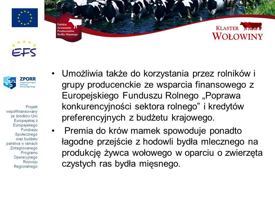 Projekt współfinansowany ze środków Unii Europejskiej z Europejskiego Funduszu Społecznego oraz budżetu państwa w ramach Zintegrowanego Programu Operacyjnego Rozwoju Regionalnego Umożliwia także do korzystania przez rolników i grupy producenckie ze wsparcia finansowego z Europejskiego Funduszu Rolnego Poprawa konkurencyjności sektora rolnego i kredytów preferencyjnych z budżetu krajowego.