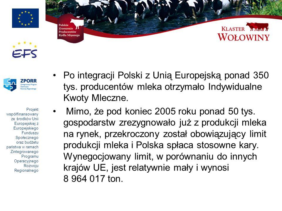 Projekt współfinansowany ze środków Unii Europejskiej z Europejskiego Funduszu Społecznego oraz budżetu państwa w ramach Zintegrowanego Programu Operacyjnego Rozwoju Regionalnego Reasumując, podstawowe kierunki rozwoju produkcji bydlęcej w Polsce na lata 2007- 2013 to: produkcja mleka zgodnie z limitami UE, o wysokiej jakości zarówno na zaopatrzenie dużych zakładów mleczarskich jak również na potrzeby małych, regionalnych przetwórni, stworzenie warunków do rozwoju produkcji żywca wołowego pochodzącego ze stad o jednokierunkowym, mięsnym użytkowaniu.