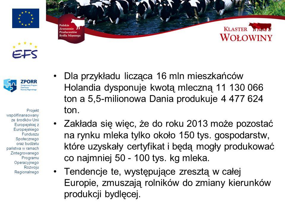 Projekt współfinansowany ze środków Unii Europejskiej z Europejskiego Funduszu Społecznego oraz budżetu państwa w ramach Zintegrowanego Programu Operacyjnego Rozwoju Regionalnego Przewiduje się, że do 2013 roku, przy aktualnie obowiązujących limitach produkcyjnych, pogłowie krów mlecznych zmniejszy się poniżej 2 000 000 sztuk.