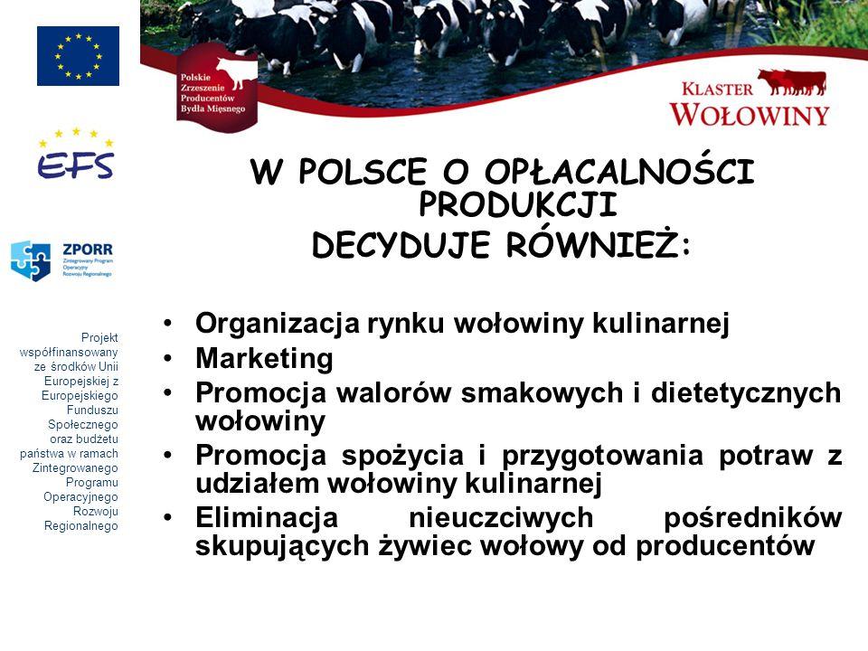 Projekt współfinansowany ze środków Unii Europejskiej z Europejskiego Funduszu Społecznego oraz budżetu państwa w ramach Zintegrowanego Programu Operacyjnego Rozwoju Regionalnego W POLSCE O OPŁACALNOŚCI PRODUKCJI DECYDUJE RÓWNIEŻ: Organizacja rynku wołowiny kulinarnej Marketing Promocja walorów smakowych i dietetycznych wołowiny Promocja spożycia i przygotowania potraw z udziałem wołowiny kulinarnej Eliminacja nieuczciwych pośredników skupujących żywiec wołowy od producentów