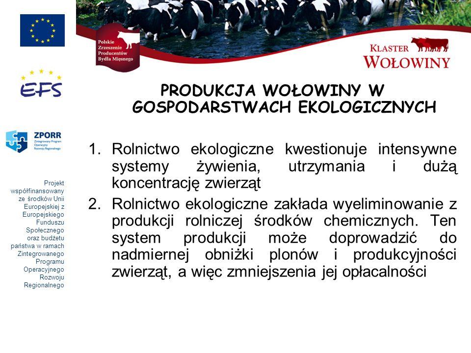 Projekt współfinansowany ze środków Unii Europejskiej z Europejskiego Funduszu Społecznego oraz budżetu państwa w ramach Zintegrowanego Programu Operacyjnego Rozwoju Regionalnego PRODUKCJA WOŁOWINY W GOSPODARSTWACH EKOLOGICZNYCH 1.Rolnictwo ekologiczne kwestionuje intensywne systemy żywienia, utrzymania i dużą koncentrację zwierząt 2.Rolnictwo ekologiczne zakłada wyeliminowanie z produkcji rolniczej środków chemicznych.