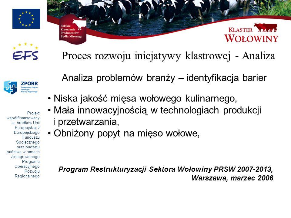 Projekt współfinansowany ze środków Unii Europejskiej z Europejskiego Funduszu Społecznego oraz budżetu państwa w ramach Zintegrowanego Programu Operacyjnego Rozwoju Regionalnego Proces rozwoju inicjatywy klastrowej - Analiza Analiza problemów branży – identyfikacja barier Niska jakość mięsa wołowego kulinarnego, Mała innowacyjnością w technologiach produkcji i przetwarzania, Obniżony popyt na mięso wołowe, Program Restrukturyzacji Sektora Wołowiny PRSW 2007-2013, Warszawa, marzec 2006