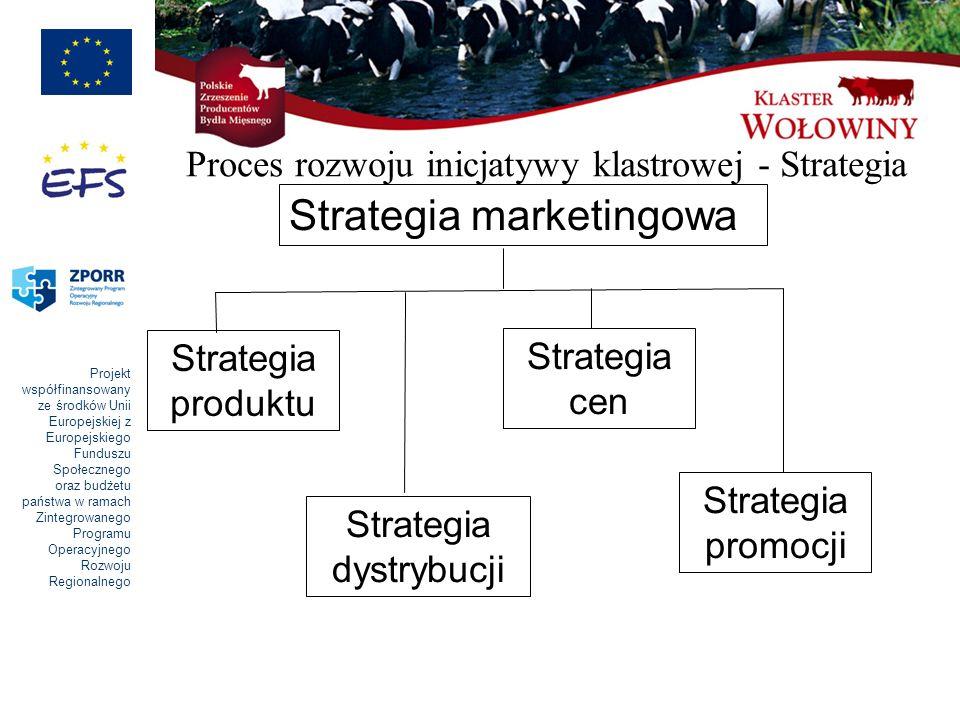 Projekt współfinansowany ze środków Unii Europejskiej z Europejskiego Funduszu Społecznego oraz budżetu państwa w ramach Zintegrowanego Programu Operacyjnego Rozwoju Regionalnego Strategia marketingowa Strategia produktu Strategia dystrybucji Strategia cen Strategia promocji Proces rozwoju inicjatywy klastrowej - Strategia