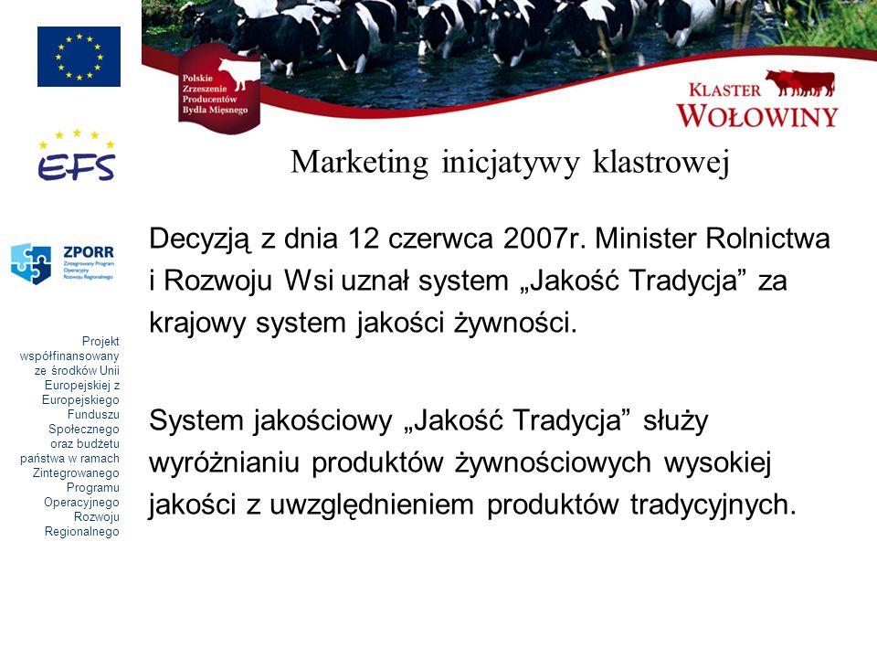 Projekt współfinansowany ze środków Unii Europejskiej z Europejskiego Funduszu Społecznego oraz budżetu państwa w ramach Zintegrowanego Programu Operacyjnego Rozwoju Regionalnego Marketing inicjatywy klastrowej Decyzją z dnia 12 czerwca 2007r.