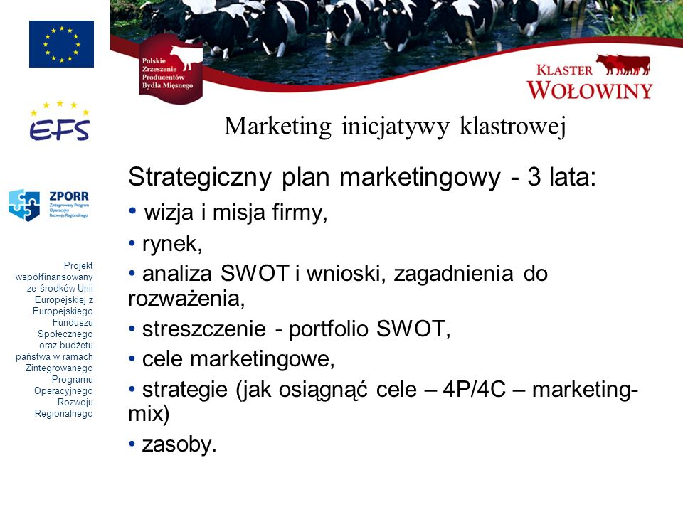 Projekt współfinansowany ze środków Unii Europejskiej z Europejskiego Funduszu Społecznego oraz budżetu państwa w ramach Zintegrowanego Programu Operacyjnego Rozwoju Regionalnego Marketing inicjatywy klastrowej Strategiczny plan marketingowy - 3 lata: wizja i misja firmy, rynek, analiza SWOT i wnioski, zagadnienia do rozważenia, streszczenie - portfolio SWOT, cele marketingowe, strategie (jak osiągnąć cele – 4P/4C – marketing- mix) zasoby.