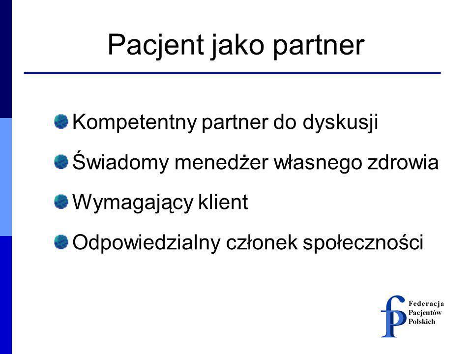 Pacjent jako partner Kompetentny partner do dyskusji Świadomy menedżer własnego zdrowia Wymagający klient Odpowiedzialny członek społeczności