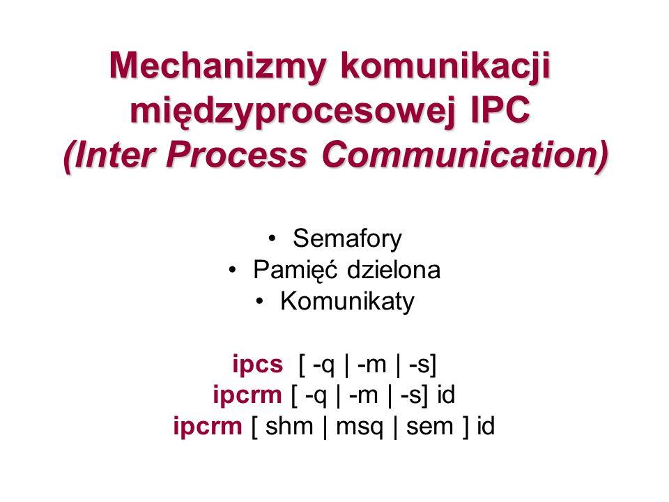 Mechanizmy komunikacji międzyprocesowej IPC (Inter Process Communication) Semafory Pamięć dzielona Komunikaty ipcs [ -q | -m | -s] ipcrm [ -q | -m | -s] id ipcrm [ shm | msq | sem ] id