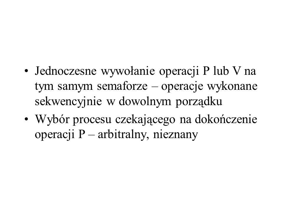Jednoczesne wywołanie operacji P lub V na tym samym semaforze – operacje wykonane sekwencyjnie w dowolnym porządku Wybór procesu czekającego na dokońc