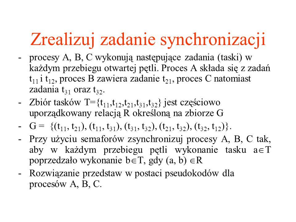 Zrealizuj zadanie synchronizacji -procesy A, B, C wykonują następujące zadania (taski) w każdym przebiegu otwartej pętli. Proces A składa się z zadań