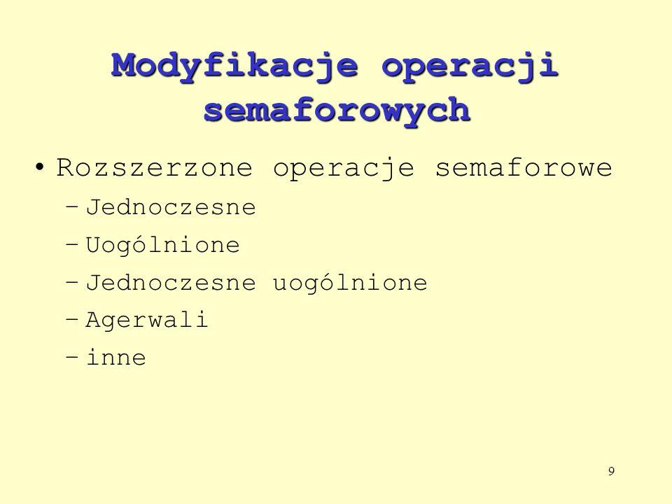 9 Modyfikacje operacji semaforowych Rozszerzone operacje semaforowe –Jednoczesne –Uogólnione –Jednoczesne uogólnione –Agerwali –inne