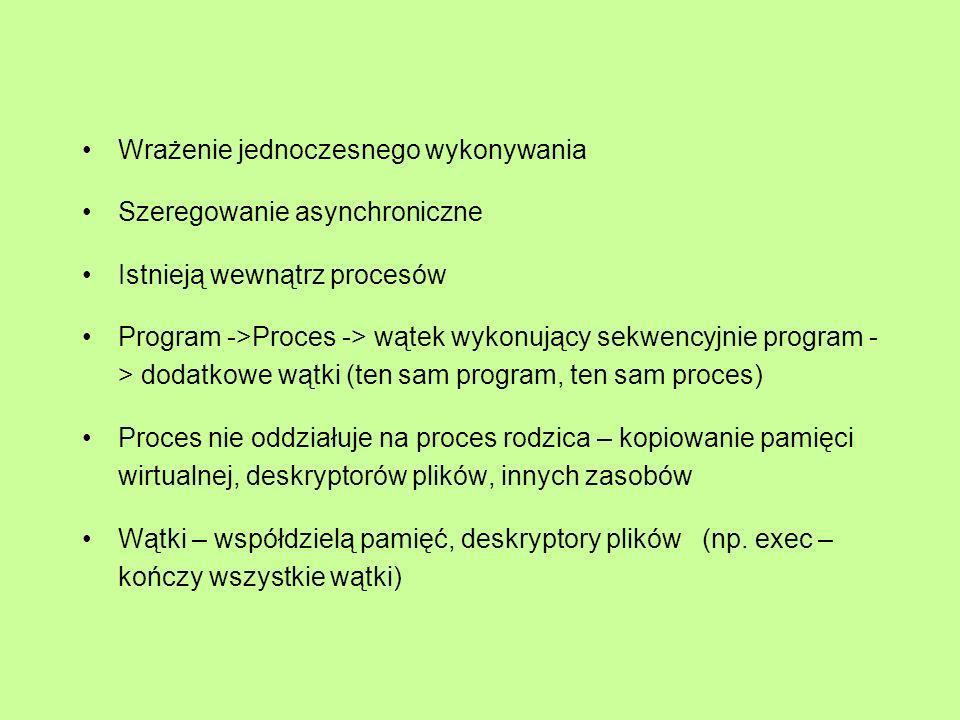 Wrażenie jednoczesnego wykonywania Szeregowanie asynchroniczne Istnieją wewnątrz procesów Program ->Proces -> wątek wykonujący sekwencyjnie program -