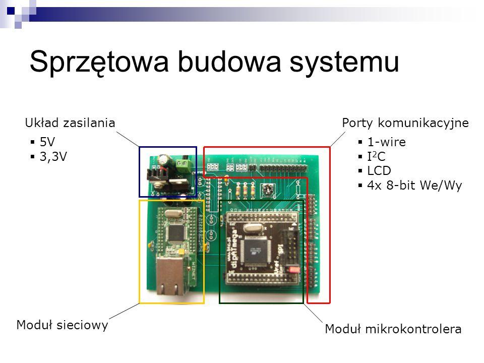 Sprzętowa budowa systemu Moduł mikrokontrolera Moduł sieciowy Układ zasilaniaPorty komunikacyjne 1-wire I 2 C LCD 4x 8-bit We/Wy 5V 3,3V