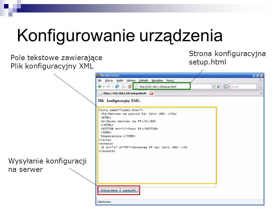 Konfigurowanie urządzenia Wysyłanie konfiguracji na serwer Pole tekstowe zawierające Plik konfiguracyjny XML Strona konfiguracyjna setup.html