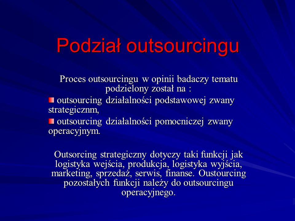 Podział outsourcingu Proces outsourcingu w opinii badaczy tematu podzielony został na : outsourcing działalności podstawowej zwany strategicznm, outso