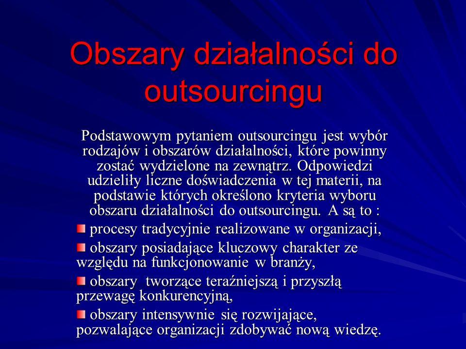 Obszary działalności do outsourcingu Podstawowym pytaniem outsourcingu jest wybór rodzajów i obszarów działalności, które powinny zostać wydzielone na