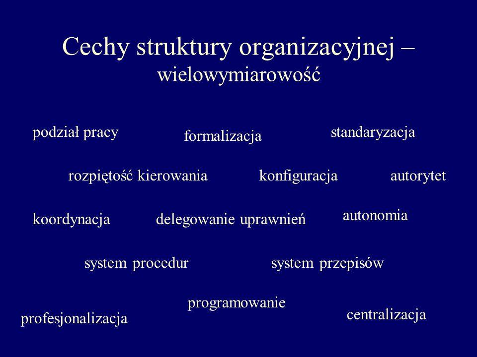 Cechy struktury organizacyjnej – wielowymiarowość podział pracy rozpiętość kierowania koordynacja standaryzacja programowanie autonomia formalizacja k